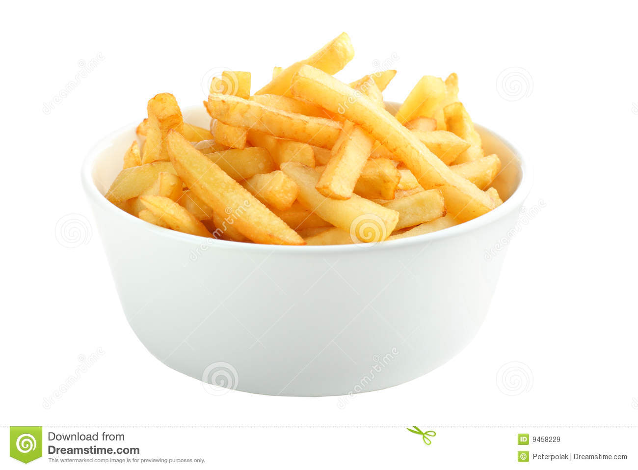 Bowl Full Of French Fries Isolated On White Royalty Free Stock Images ...