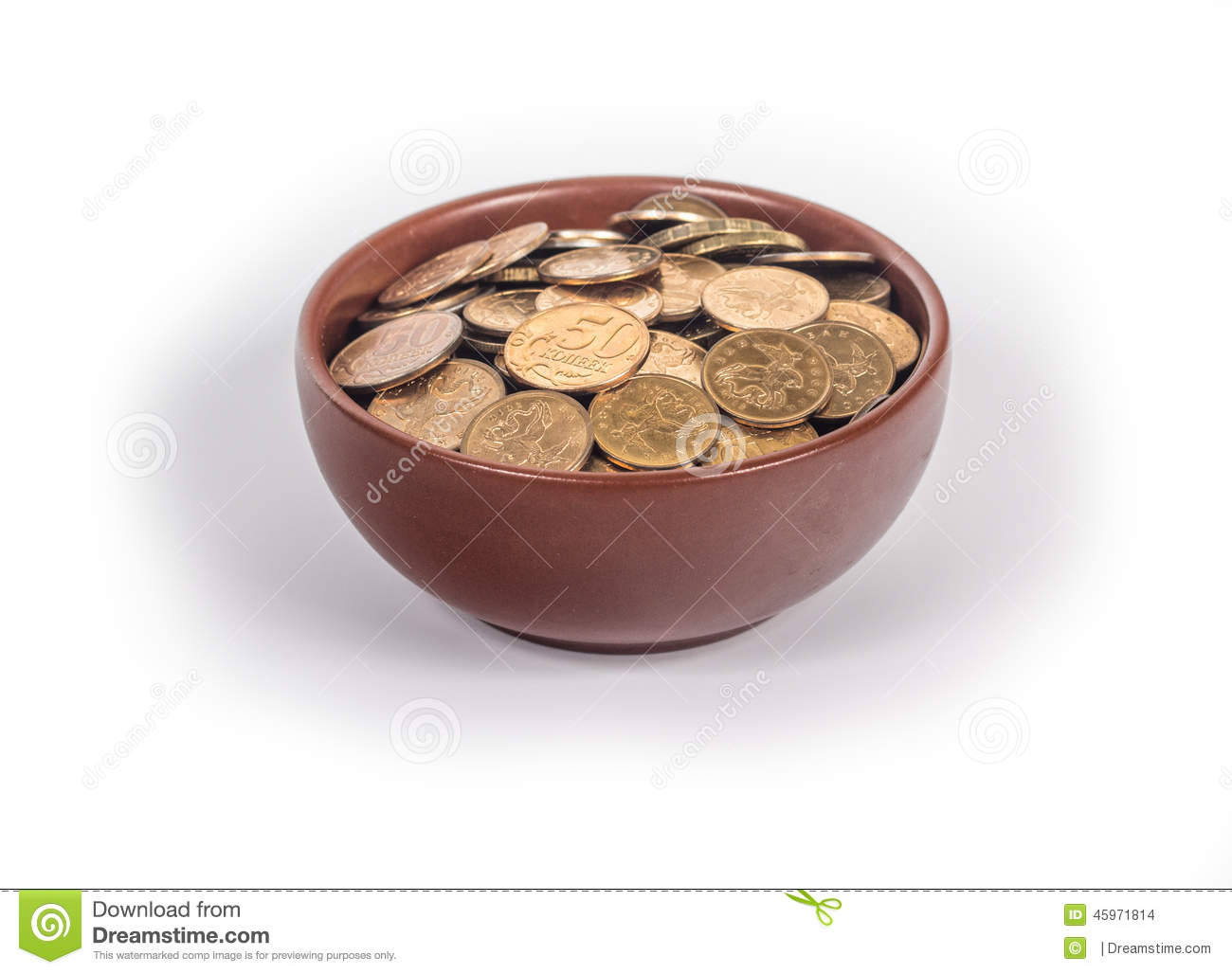 Download Bowl with gold coins stock photo. Image of treasure, coin - 45971814