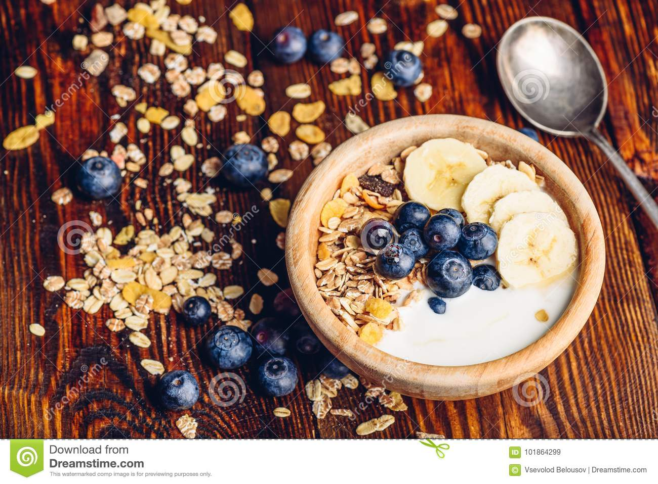 Bowl of Granola, Banana, Blueberry and Yoghurt.