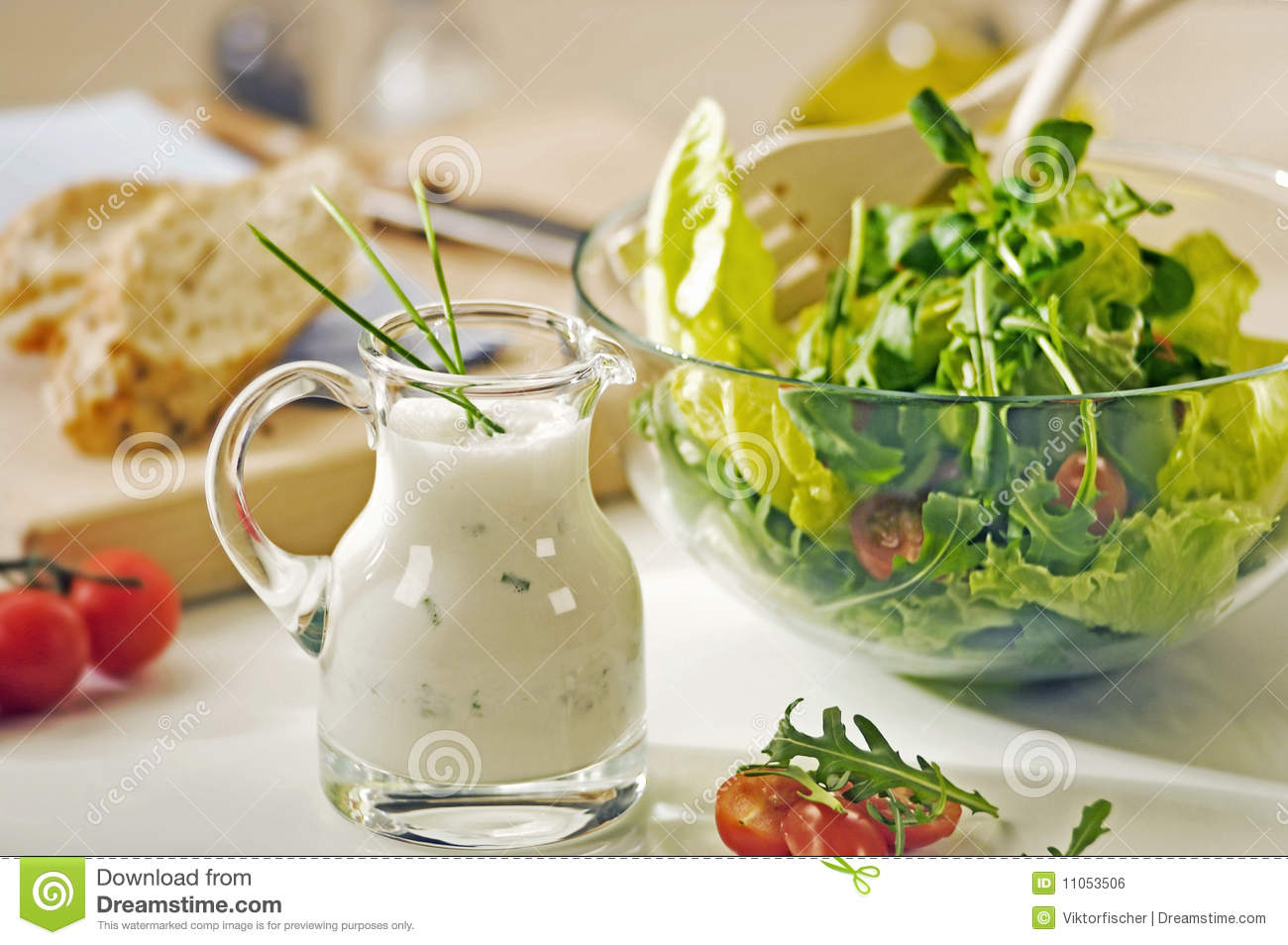 bowl of greens and salad dressing stock photo image 11053506. Black Bedroom Furniture Sets. Home Design Ideas