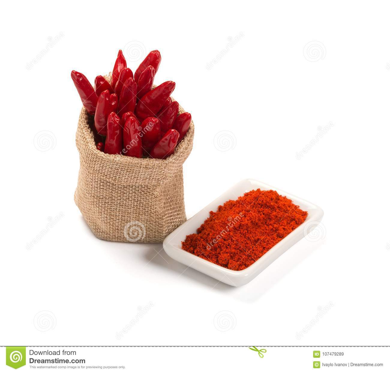 Bowl of ground red pepper spice in bowl on white