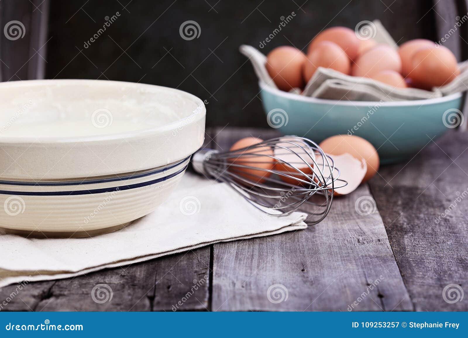 Pancake Batter Whisk and Fresh Eggs