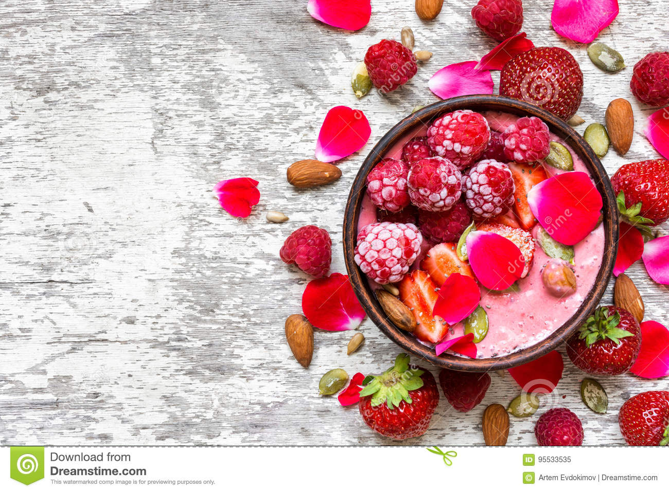 Bowl of homemade pink smoothie with fresh raspberries strawberries download bowl of homemade pink smoothie with fresh raspberries strawberries nuts seeds and mightylinksfo