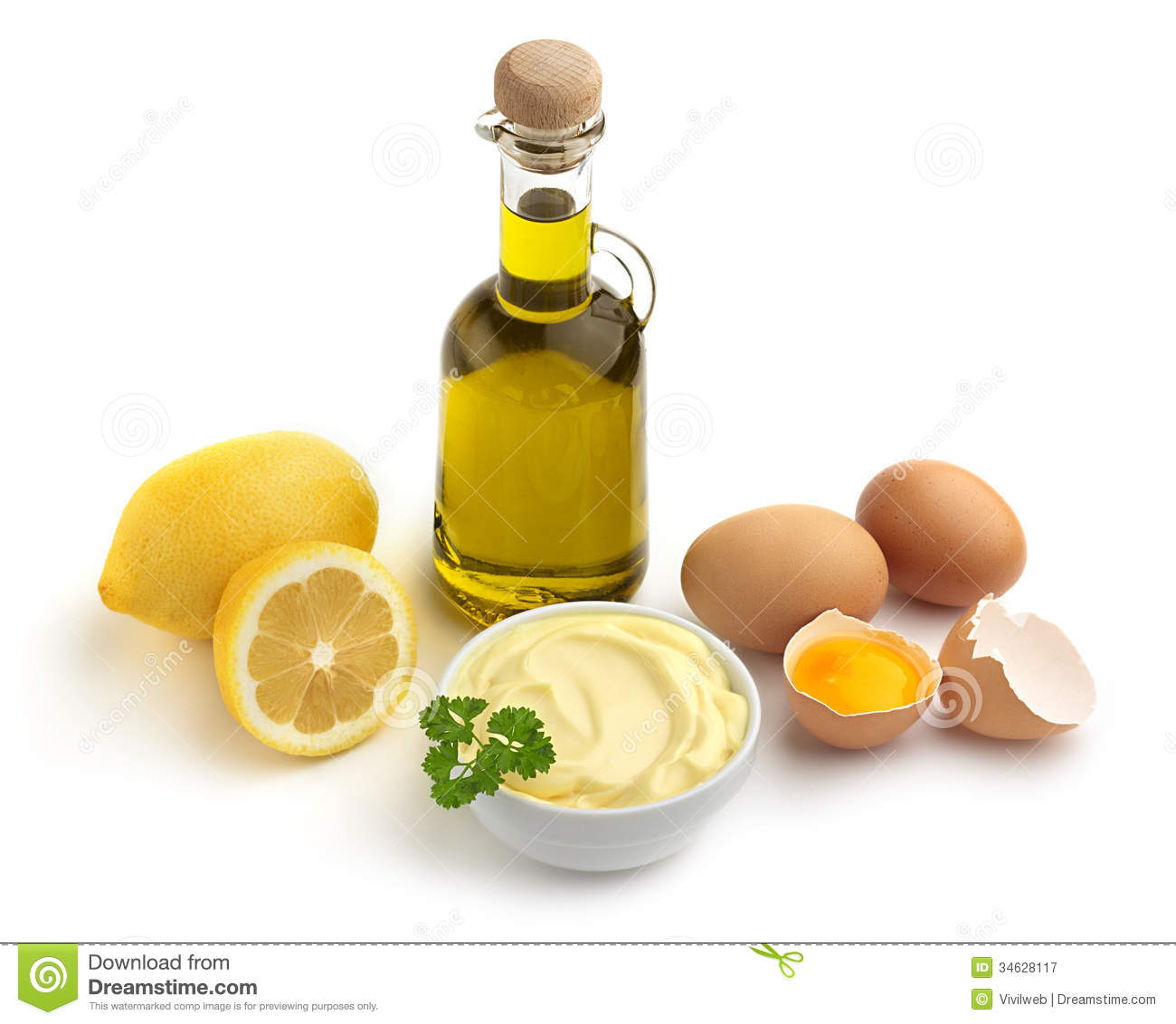 Bowl Of Mayonnaise And Ingredients Royalty Free Stock ...