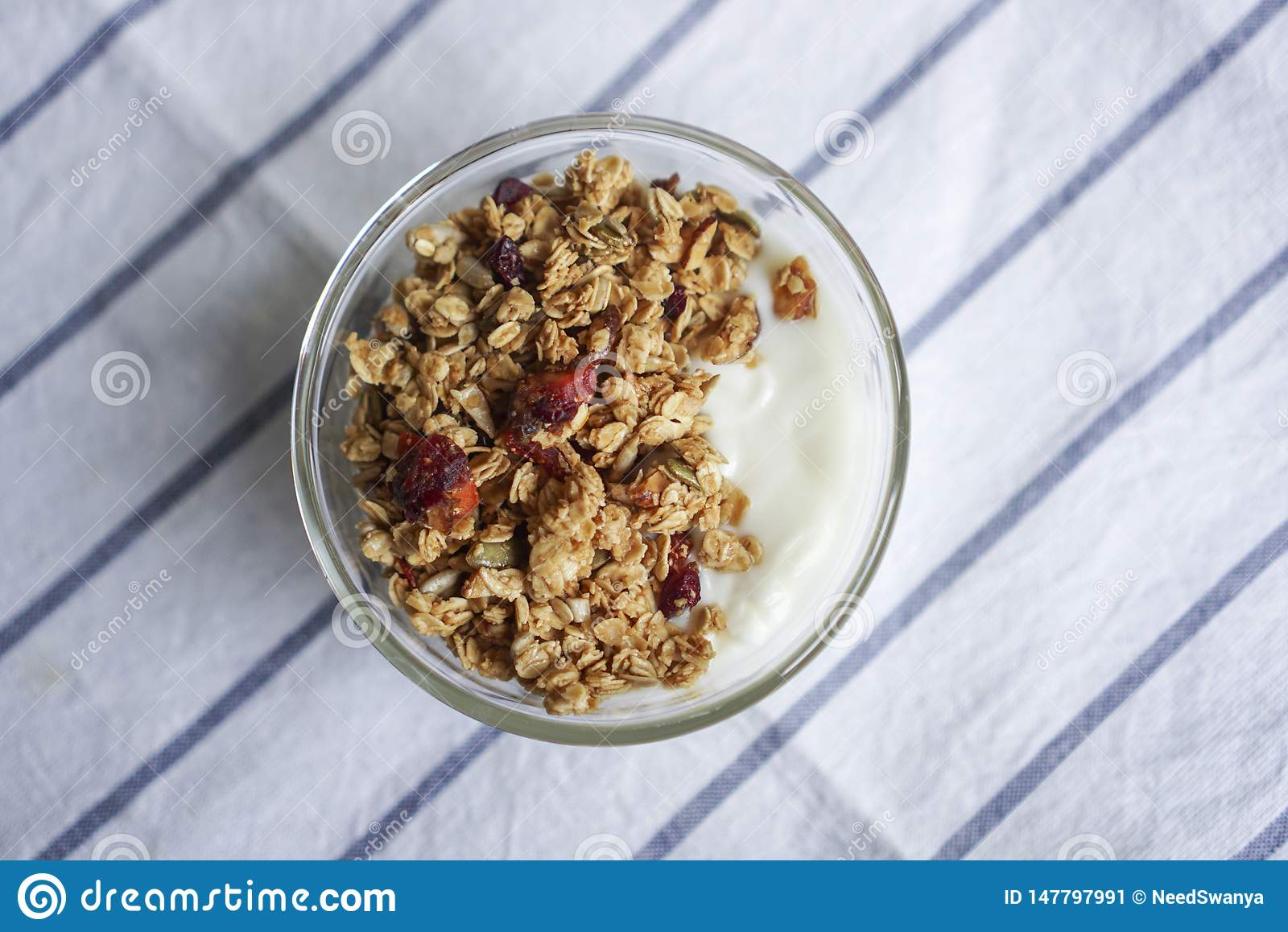 A bowl of Mixed berry granola.
