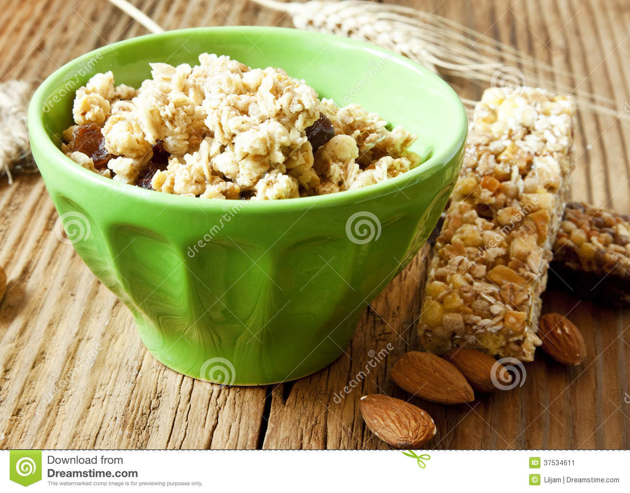 Bowl with Muesli and Cereal Bars