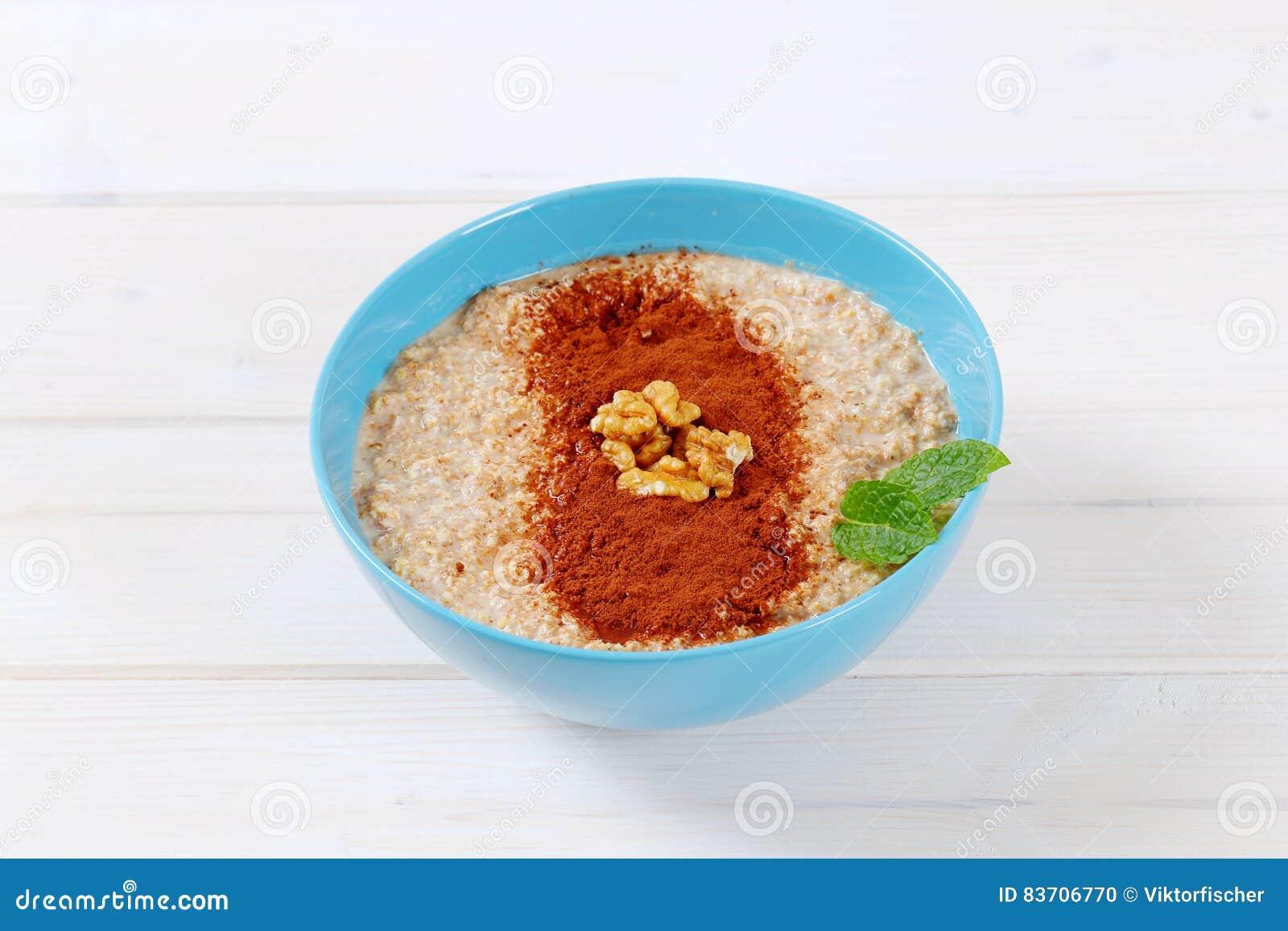 Bowl Of Oatmeal Porridge Stock Photo