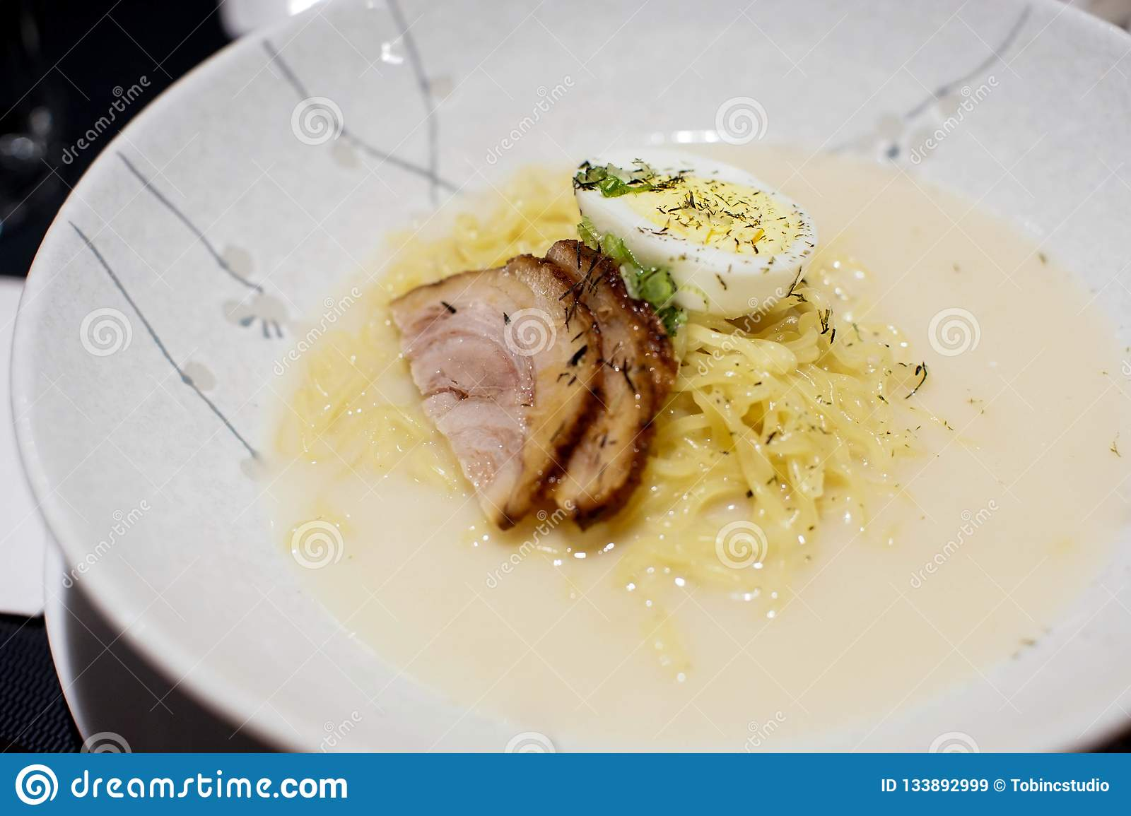Bowl Of Ramen Noodles With Eggs And Beef Stock Image - Image