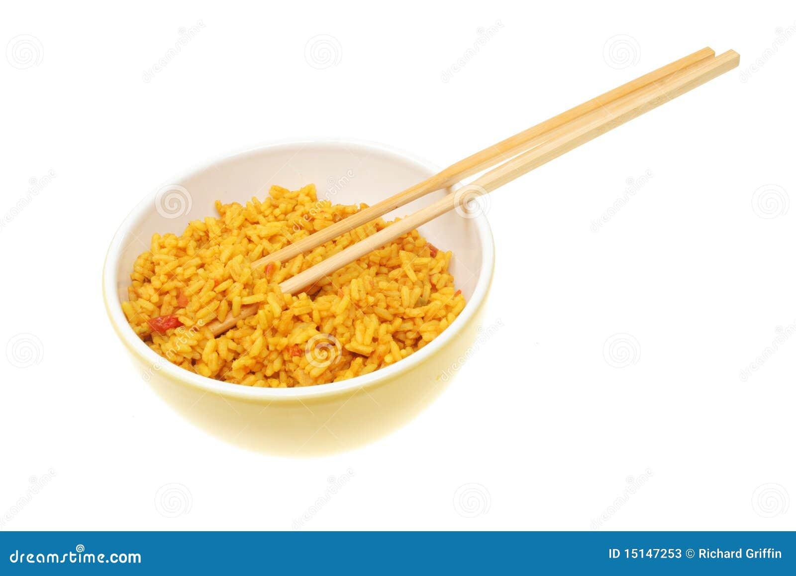 Bowl Of Rice With Chopsticks Stock Photos - Image: 15147253