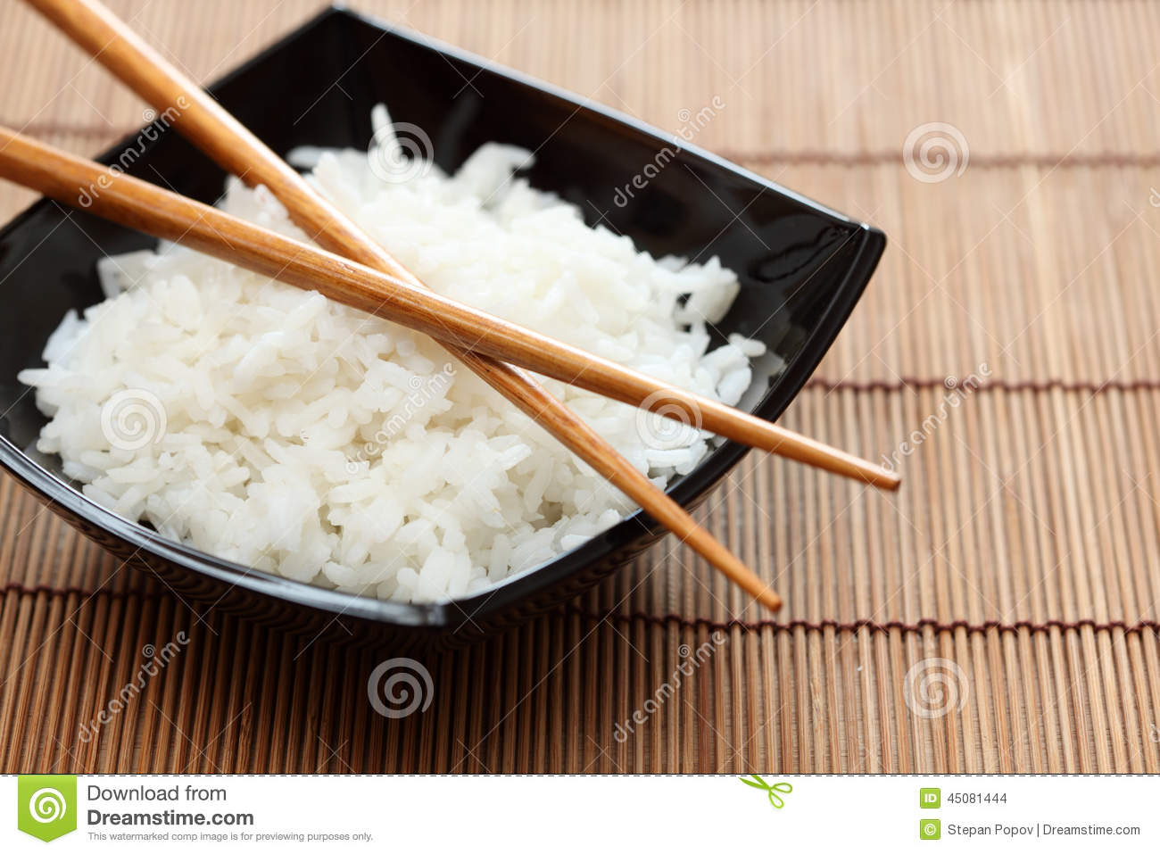 Bowl Of Rice With Chopsticks Stock Photo - Image: 45081444