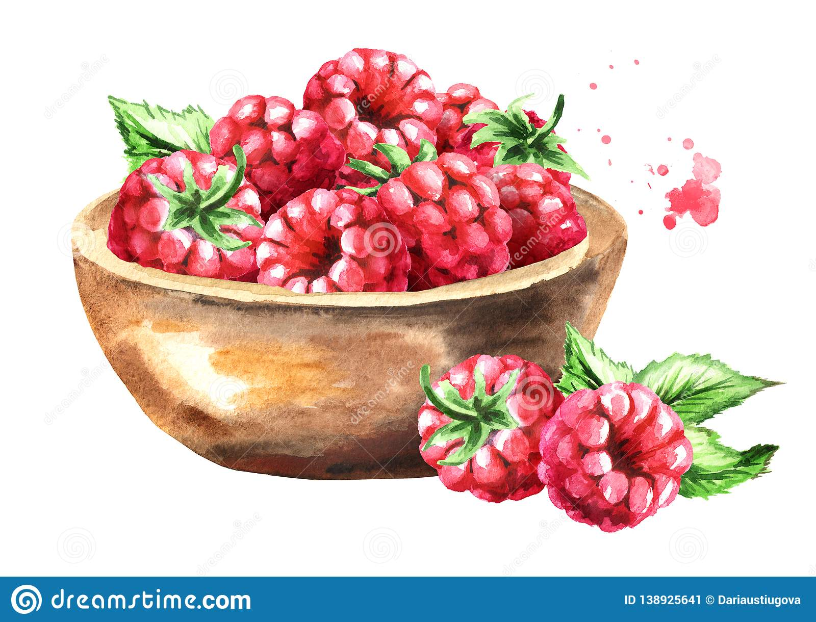 Bowl with ripe raspberry. Watercolor hand drawn illustration, isolated on white background