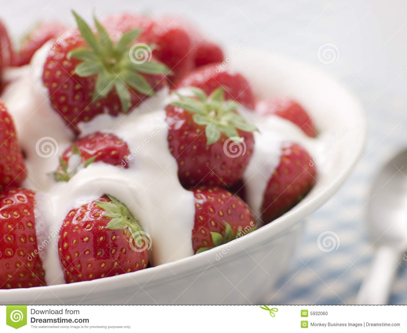 Strawberries And Whipped Cream Bowl Bowl Of Strawberries A...