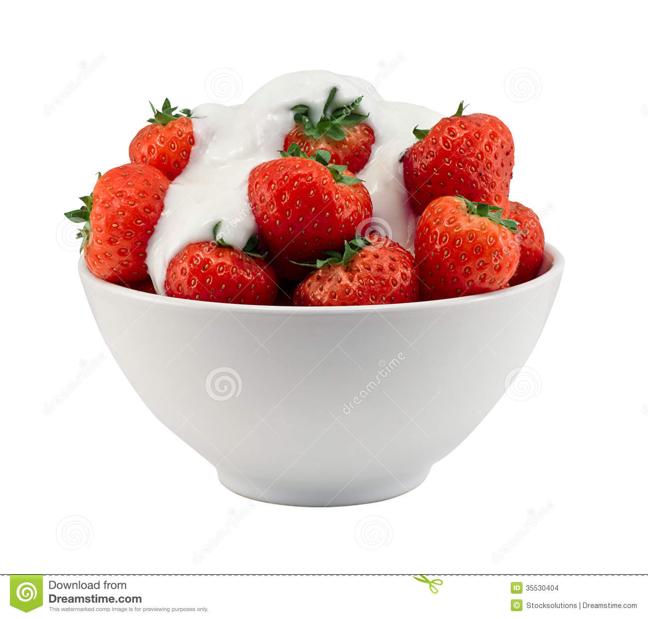 Bowl Of Strawberries And Cream Isolated Stock Images - Image: 35530404