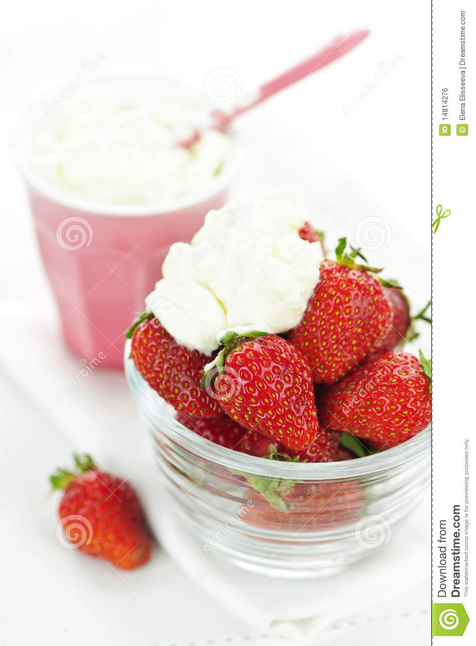 Strawberries And Whipped Cream Bowl Bowl Of Strawberries W...