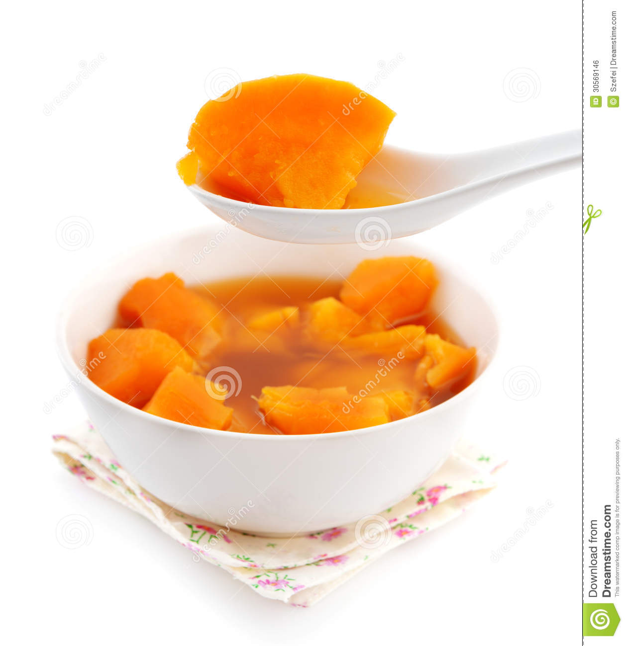 Bowl of sweet potato soup.