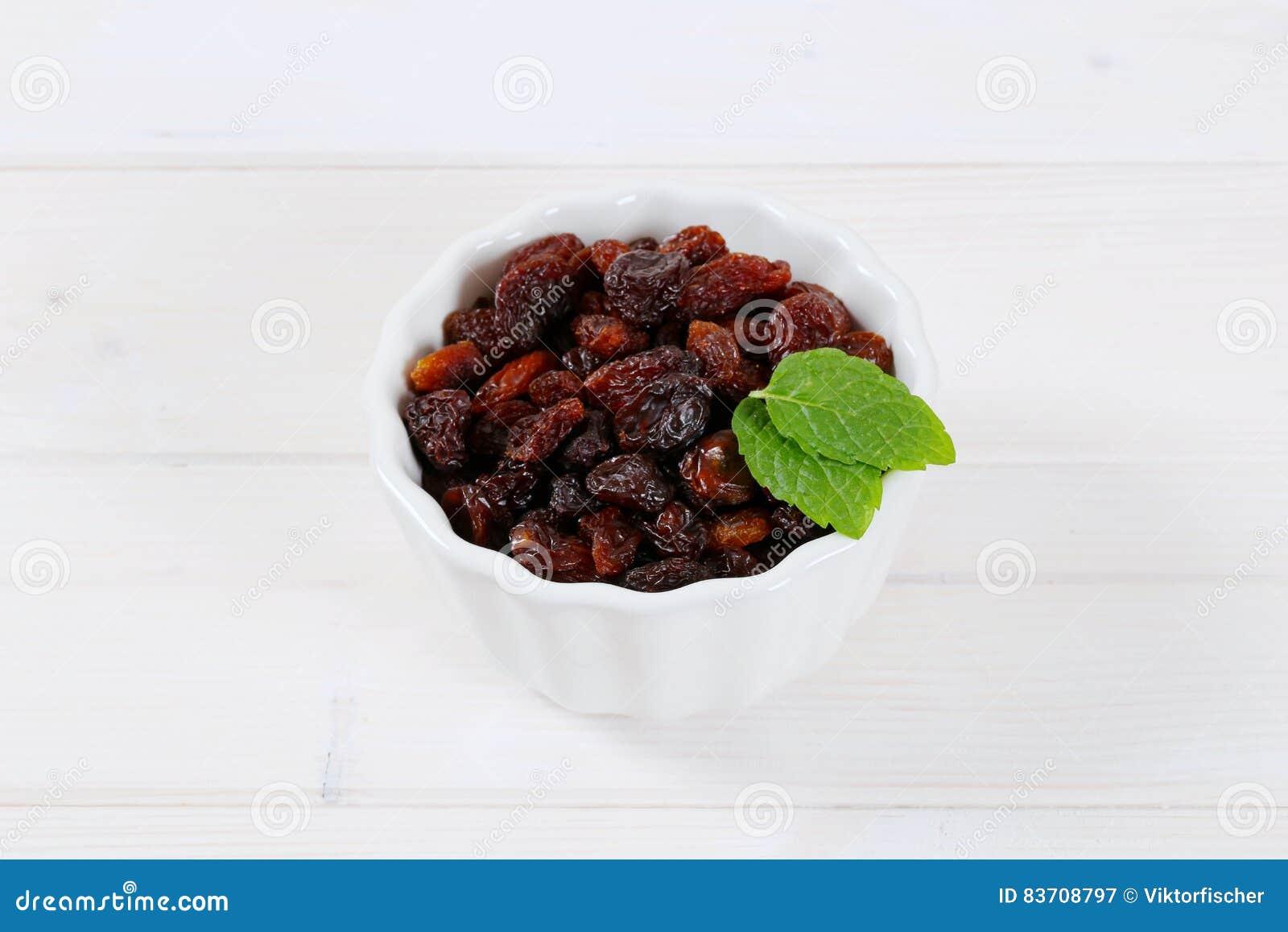 Bowl Of Sweet Raisins Stock Photo