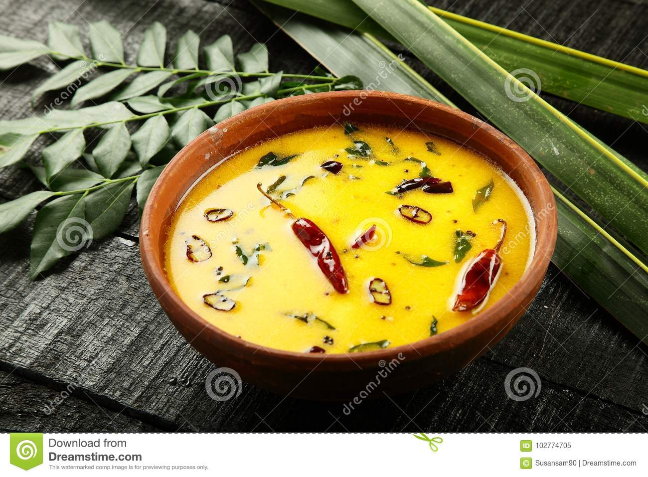 Bowl of tasty Puliserry, stock image  Image of onam - 102774705