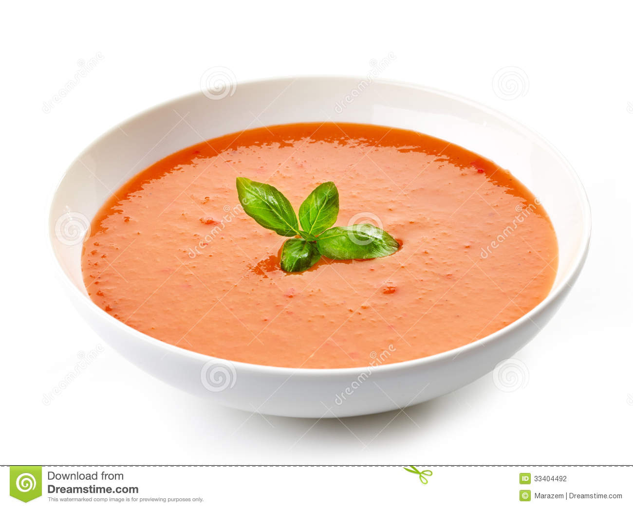 Bowl Of Tomato Soup With Basil Stock Photography - Image: 33404492
