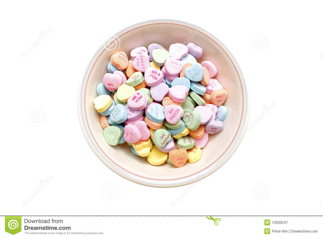 Bowl of valentine candy