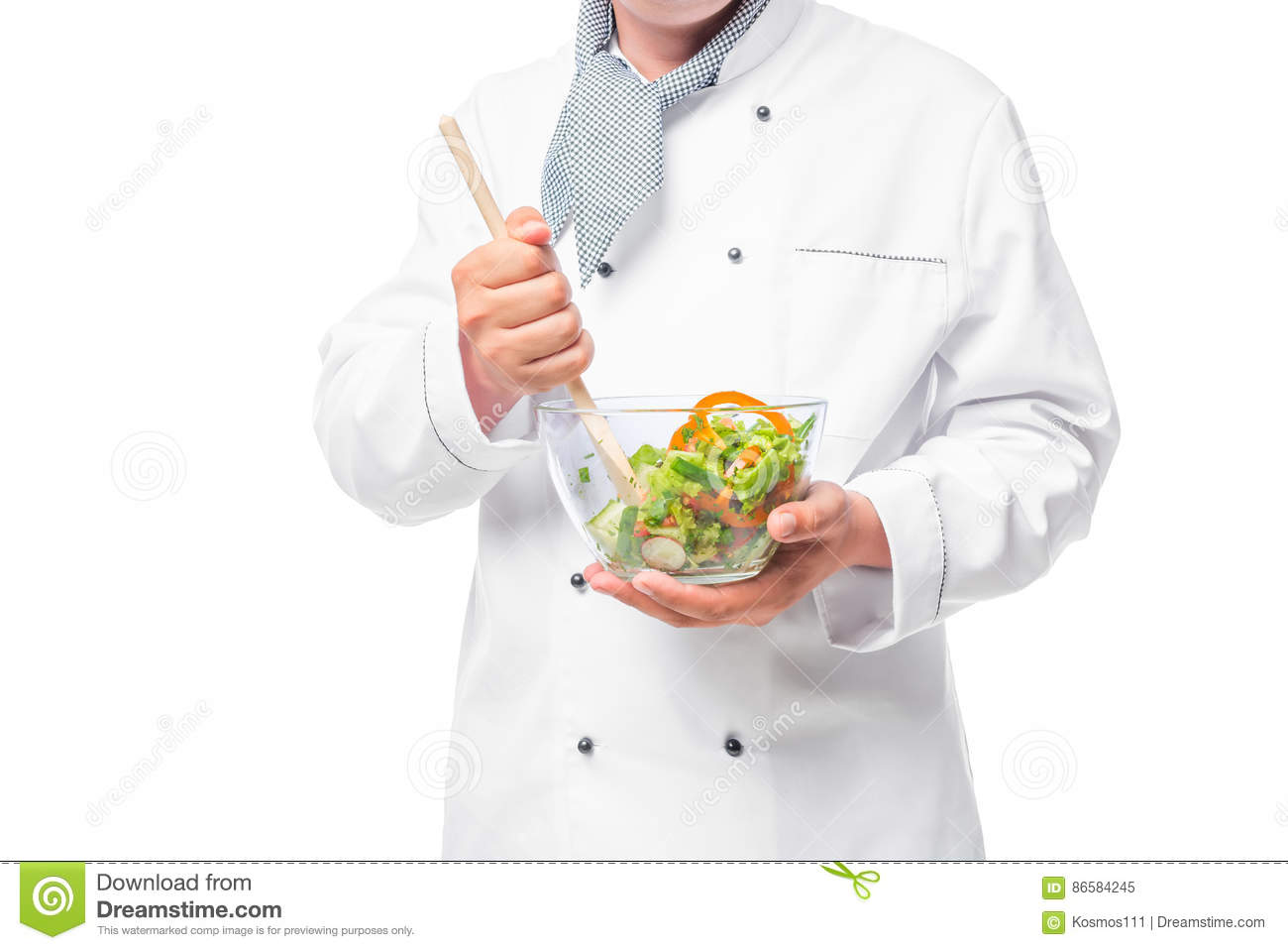 Bowl with vegetable salad and a wooden spoon to stir in the hand