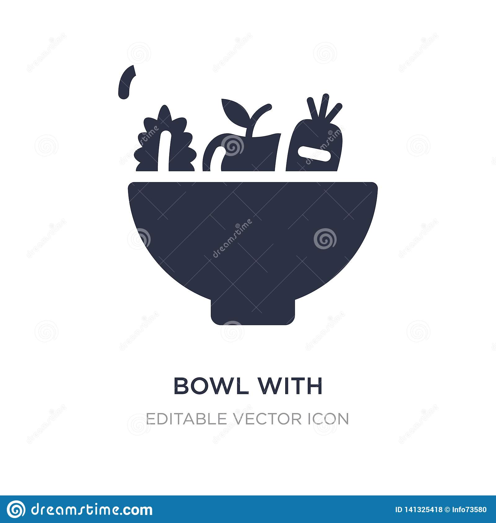 bowl with vegetables icon on white background. Simple element illustration from Food concept