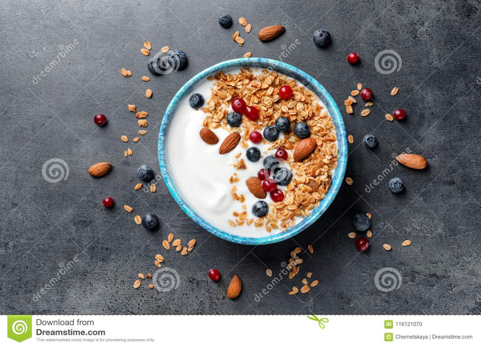 Bowl with yogurt, berries and granola