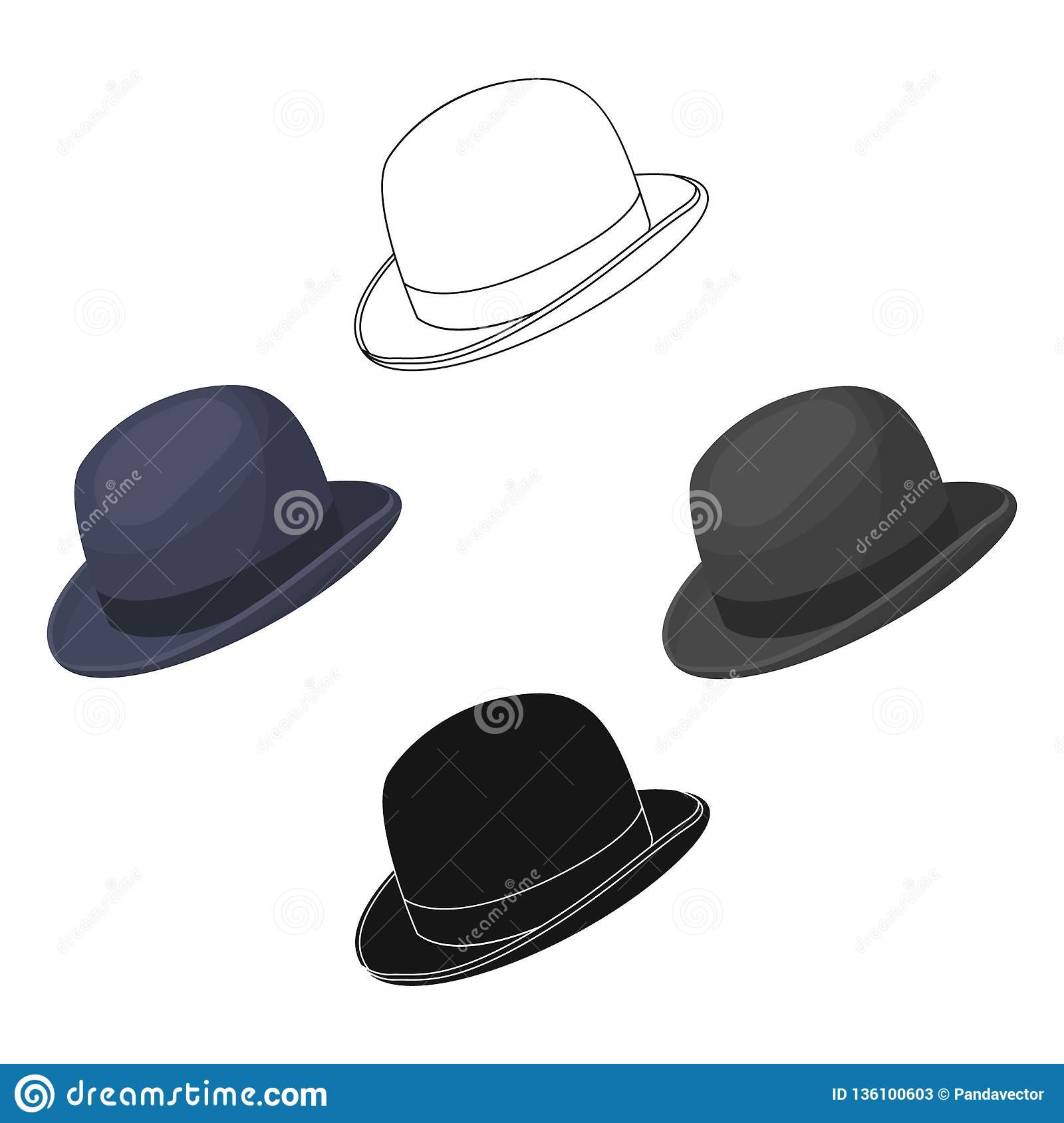 64a7d5630dab3 Bowler hat icon in cartoon style isolated on white background. Hipster  style symbol stock vector illustration.