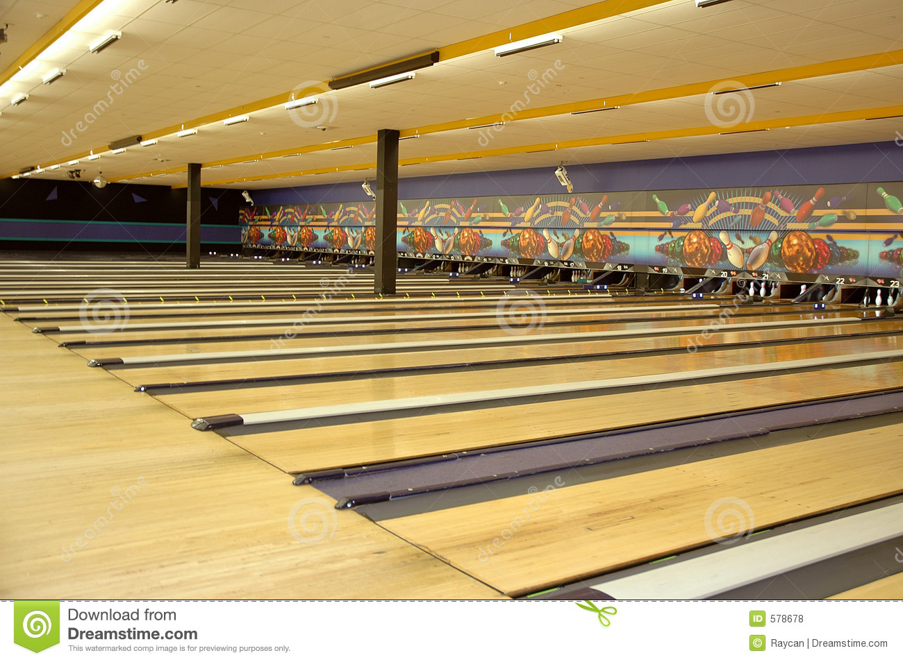 Bowling alley lane rows of bowling lanes at a