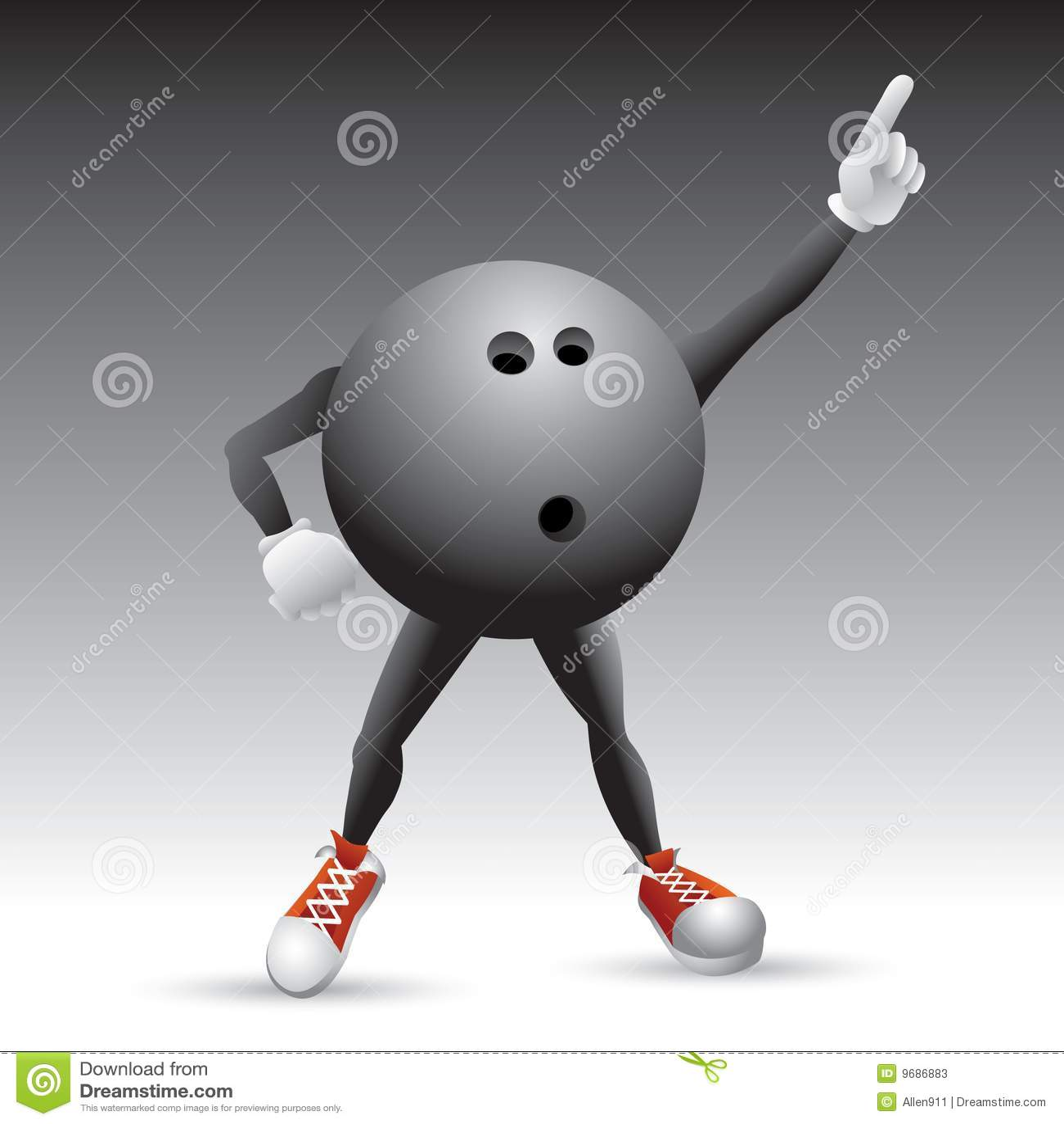 Bowling Ball Character Striking A Pose Stock Photos