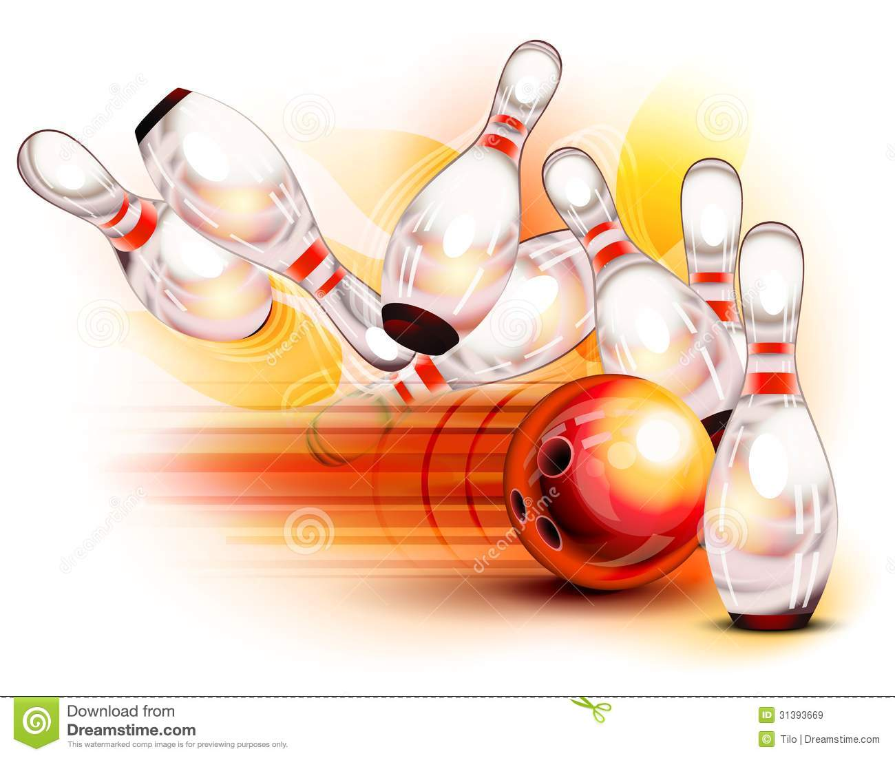 ... Crashing Into The Pins Royalty Free Stock Images - Image: 31393669