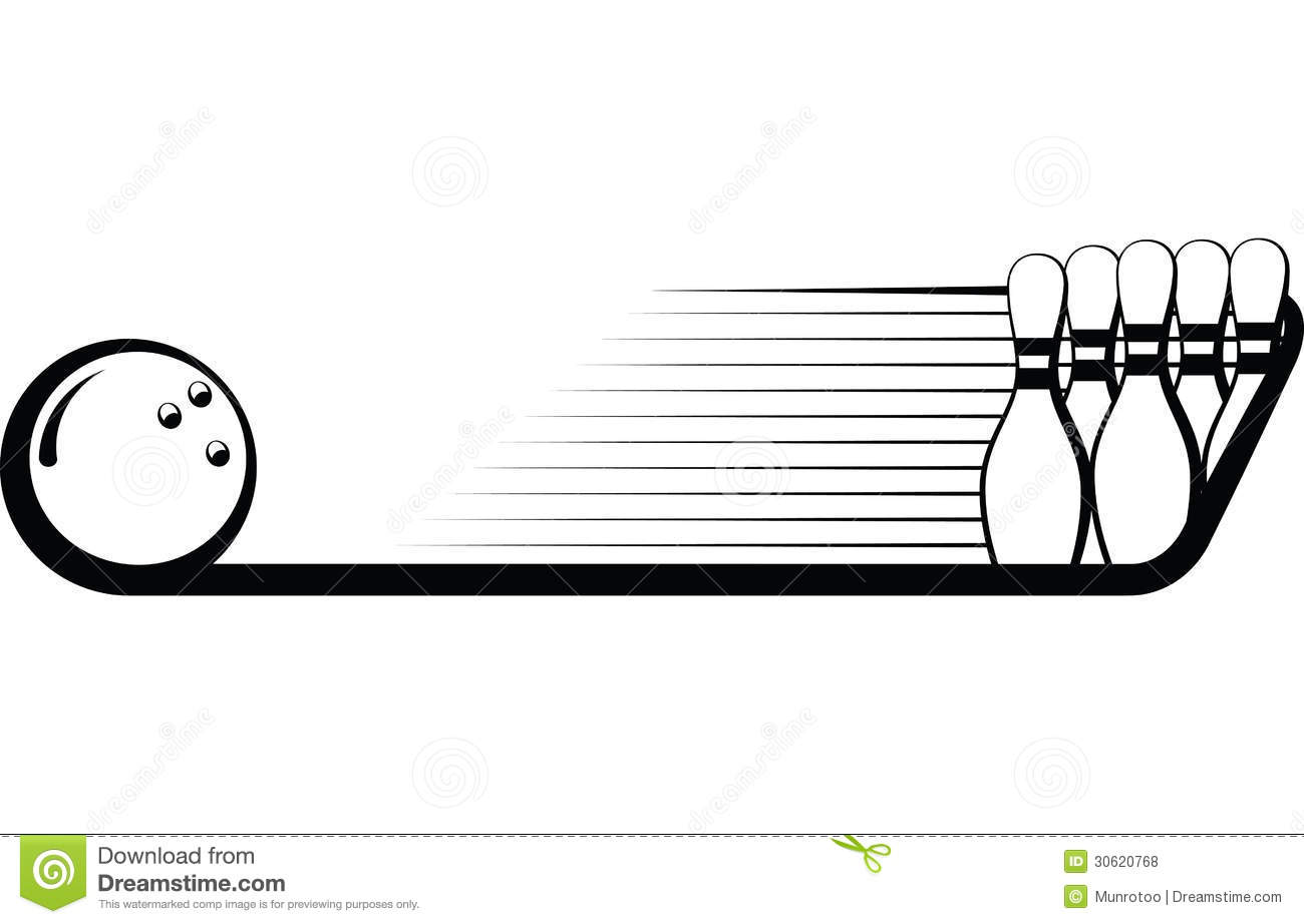 Black and white illustration of a bowling ball and bowling pins ...