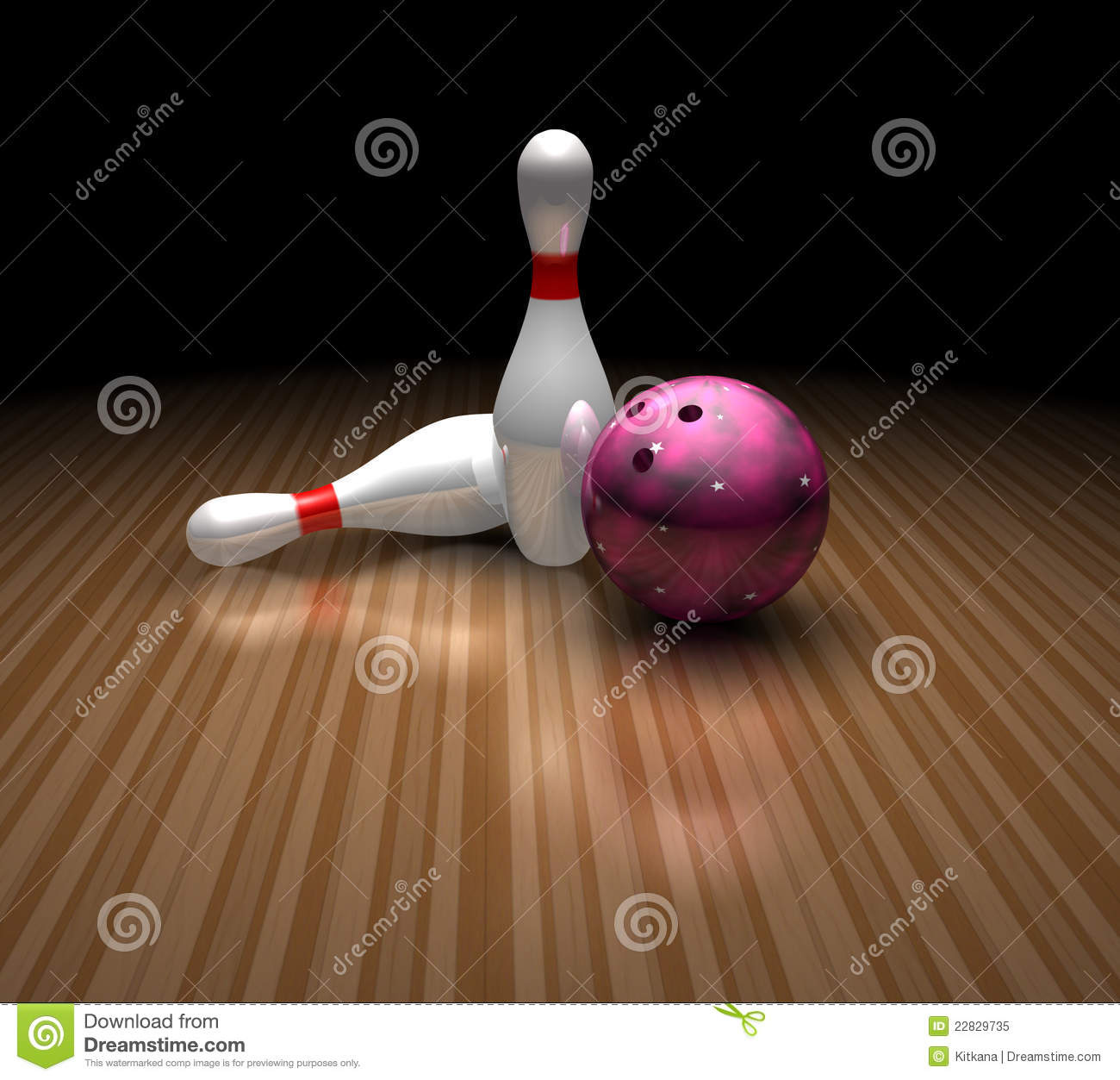 purple bowling ball stands still in a bowling ally with two skittles ...