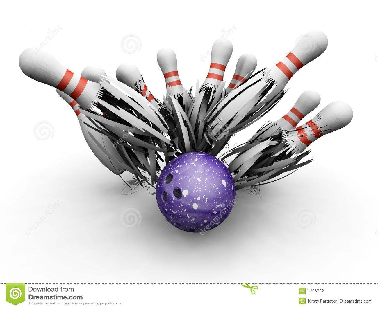 Bowling Ball Smashing Into Pins Stock Photography - Image: 1286732