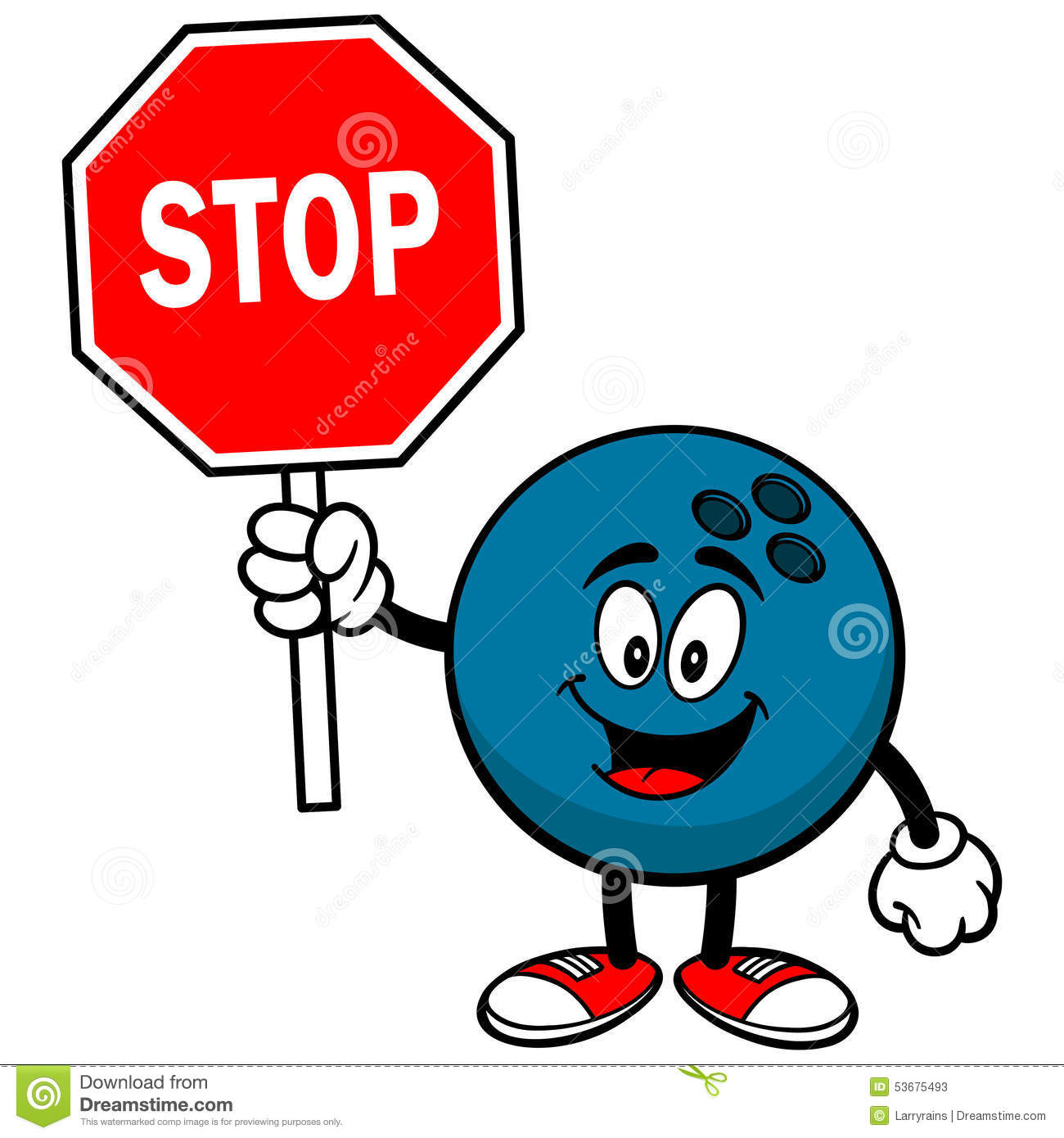 Bowling Ball With Stop Sign Stock Vector - Image: 53675493