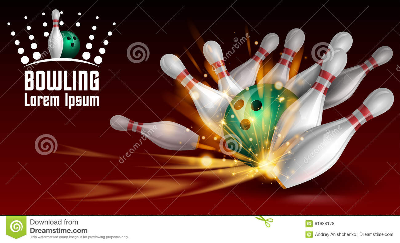bowling banner stock vector image 61988178