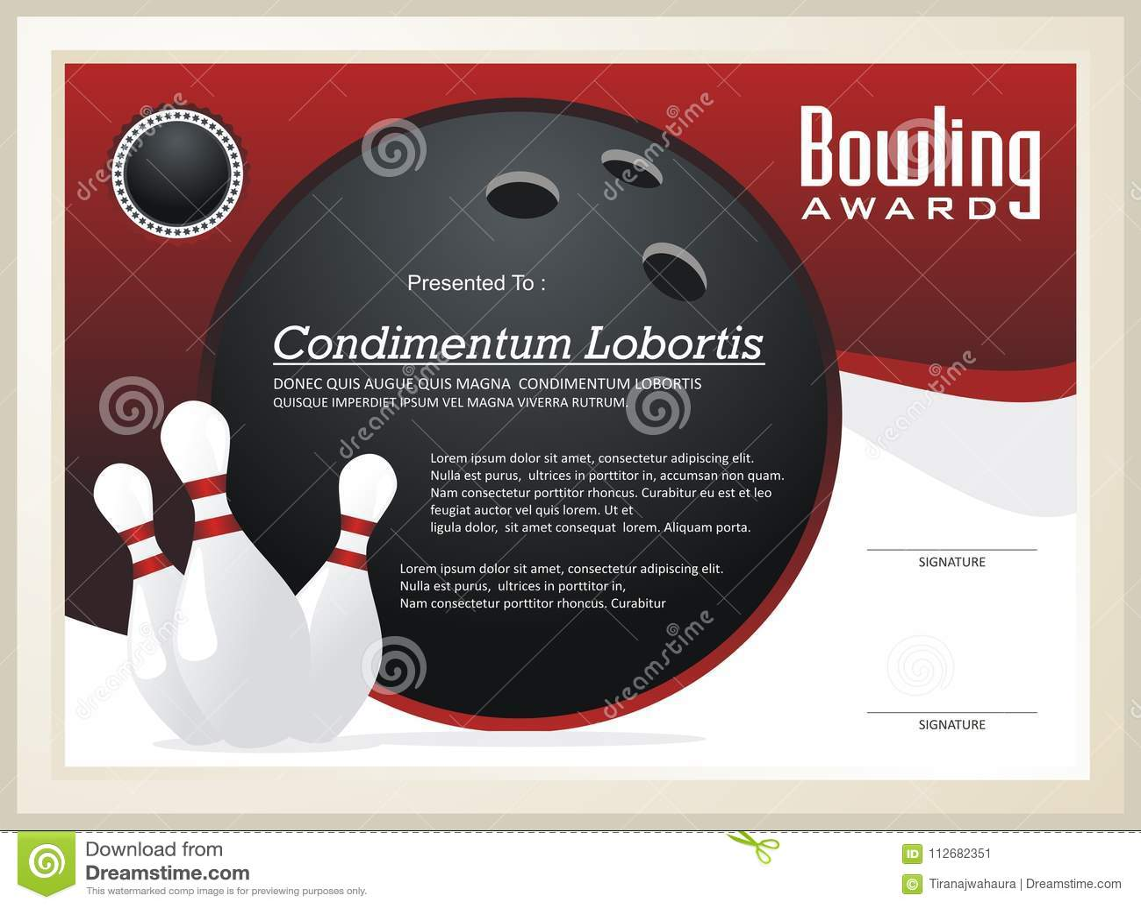 Bowling certificate award template vector stock vector bowling certificate award template vector alramifo Images