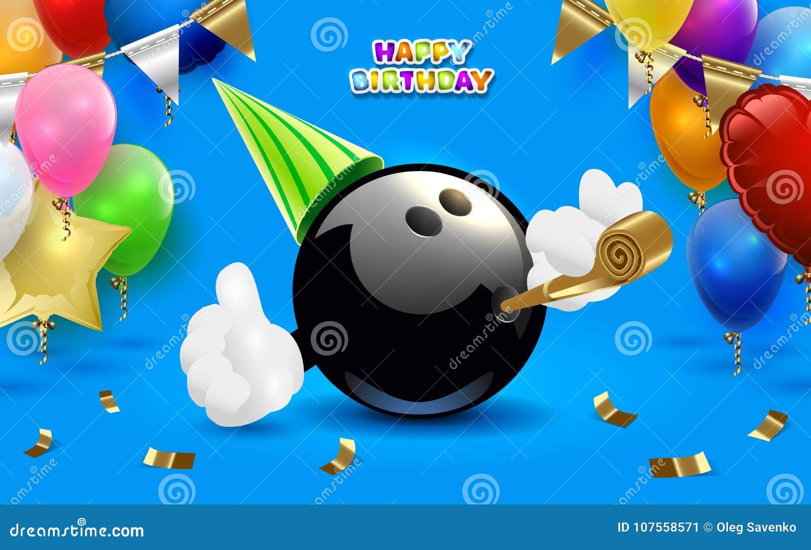 Bowling Happy Birthday Party Vector Clip Art Illustration
