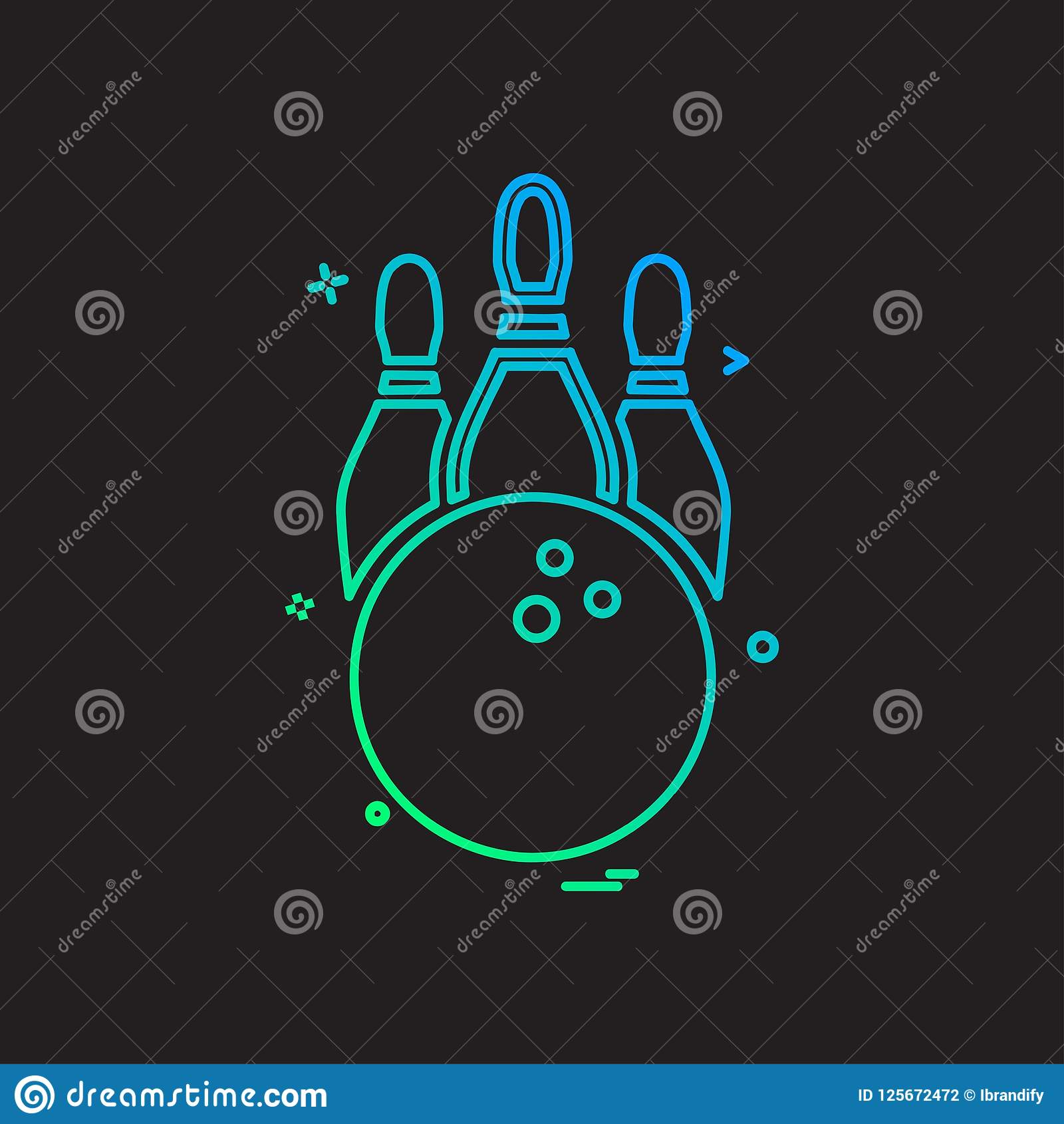 Bowling icon design. This Vector EPS 10 illustration is best for print media, web design, application design user interface and infographics with well Royalty Free Illustration