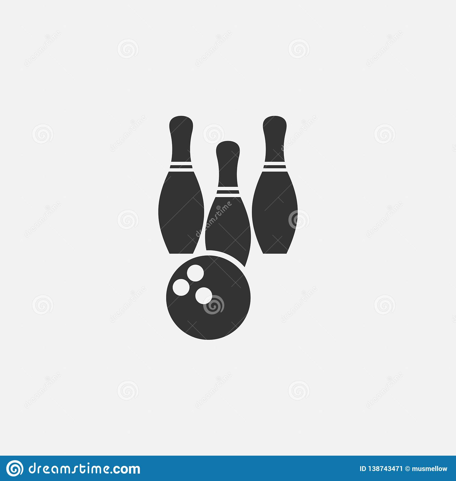 Bowling Icon, Strike, Sport, Game Stock Vector