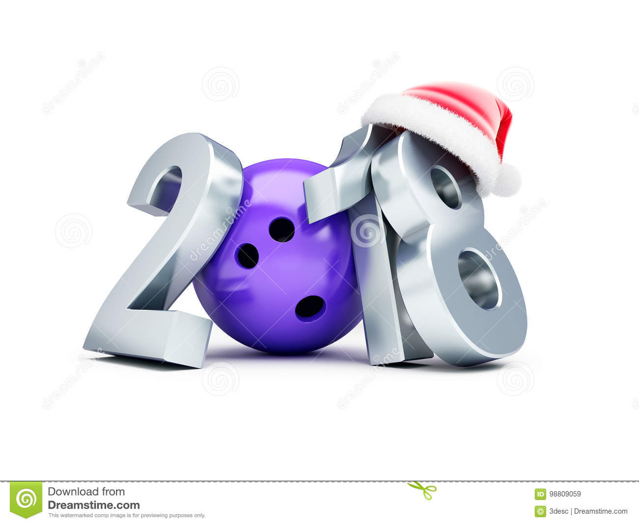 Bowling 2018 New Year Sign With Bowling Ball And Skittle On Snowing ...