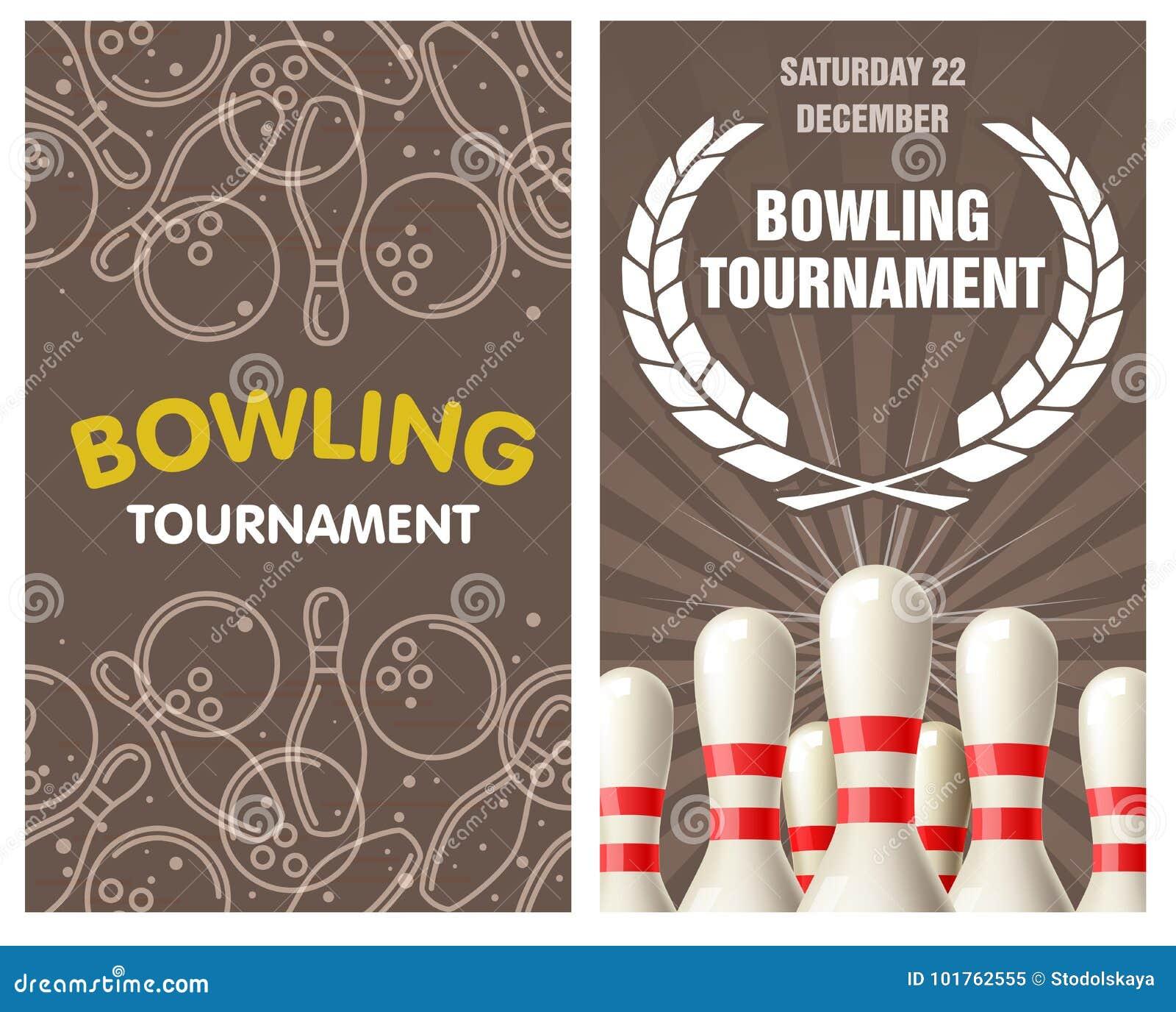 blank bowling invitation cartoon vector