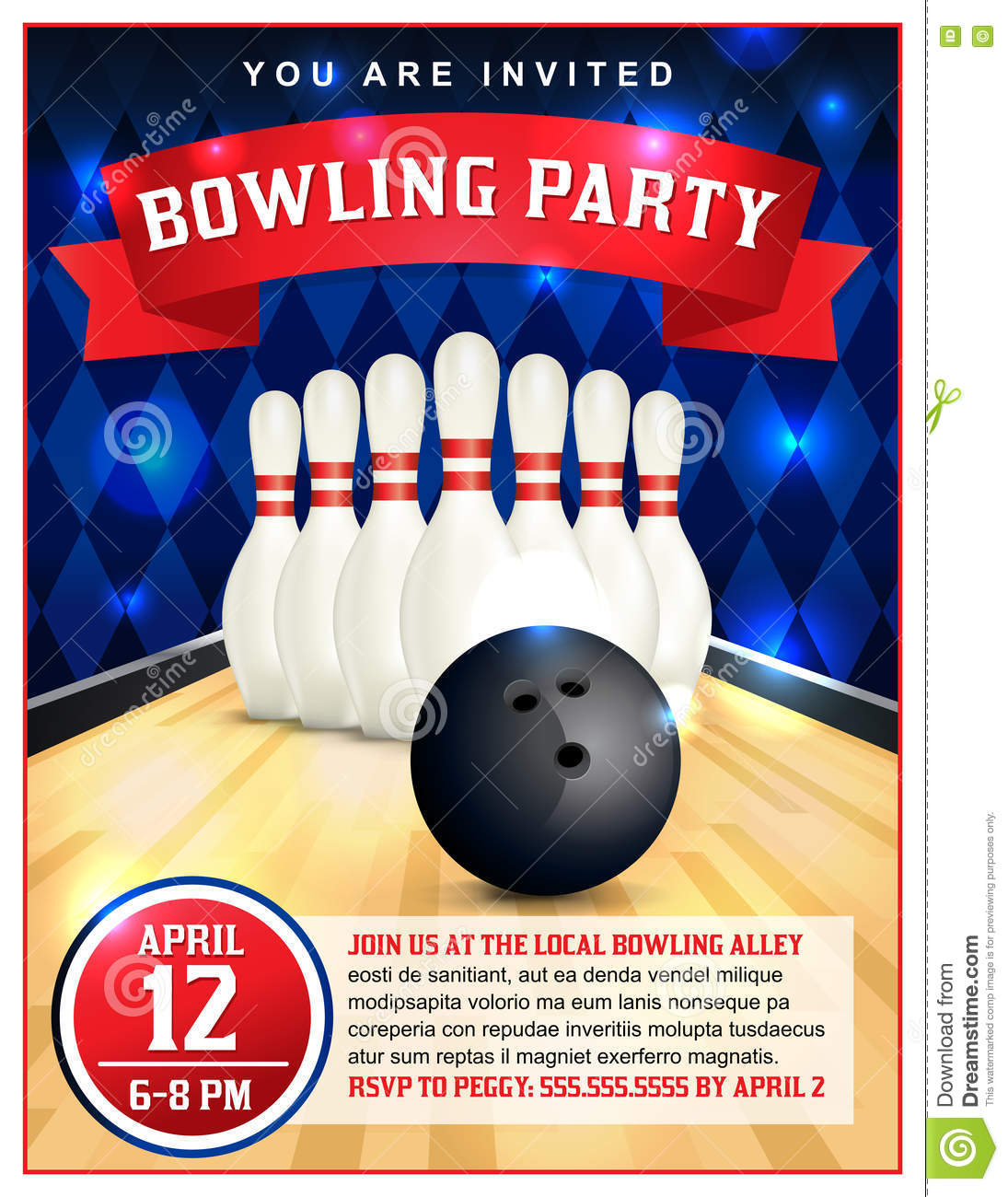 Bowling party flyer template illustration stock vector image royalty free vector download bowling party flyer template pronofoot35fo Images