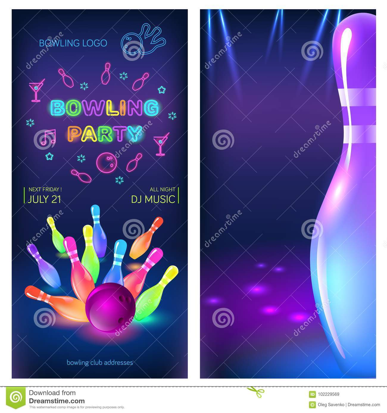 Bowling Party Flyer Template Vector Clip Art Illustration Stock