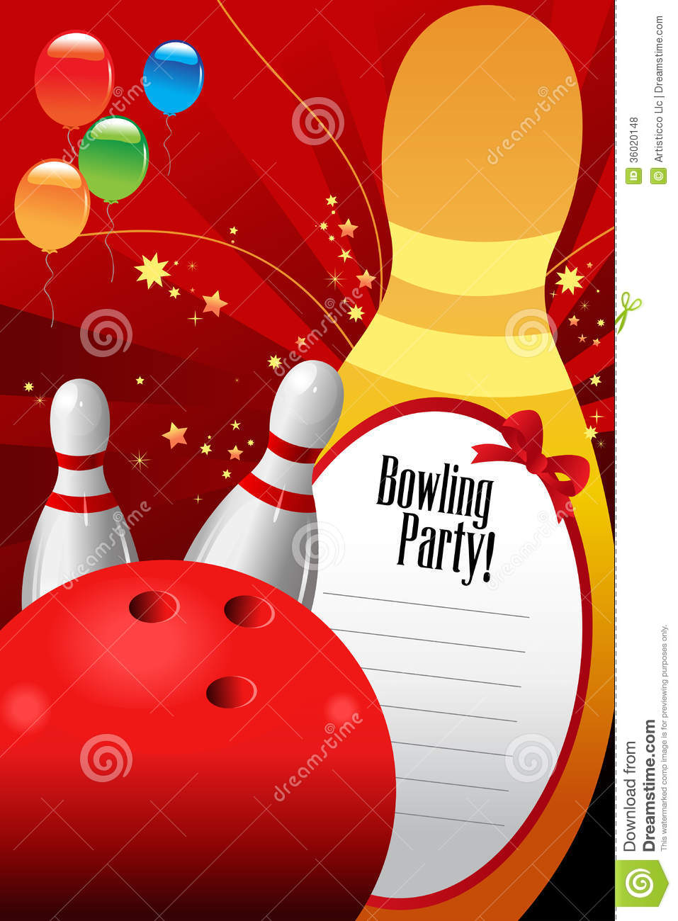 Bowling Party Invitation Template Royalty Free Stock