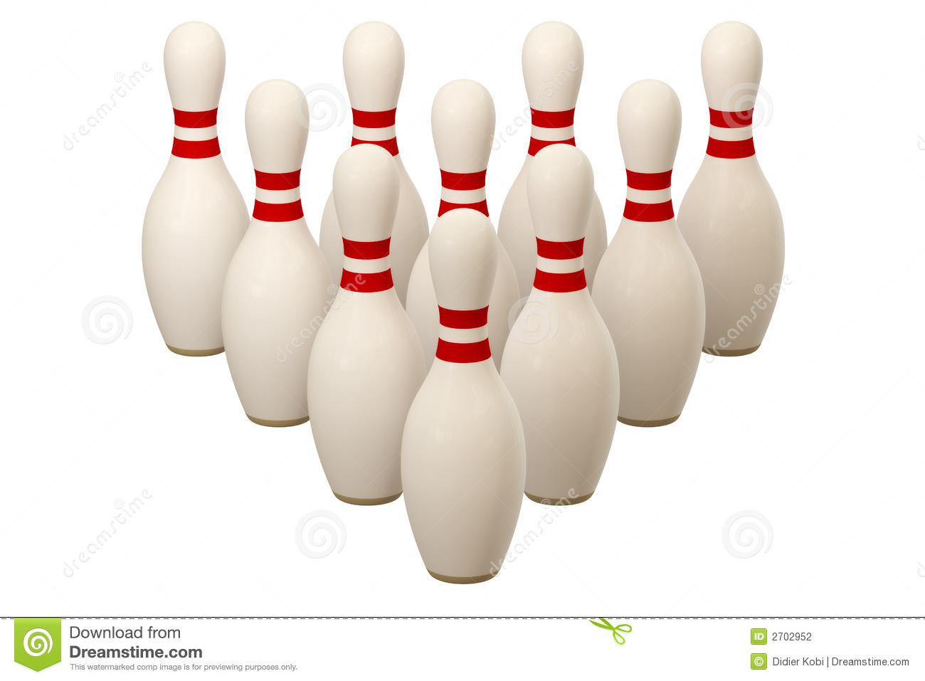 Bowling pins isolated over a white background. This is a 3D rendered ...