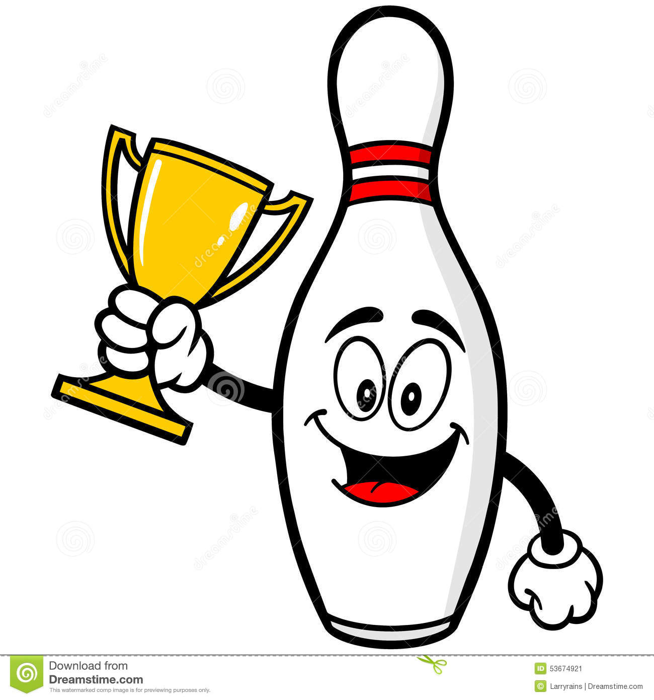 Bowling Pin With Trophy Stock Vector - Image: 53674921