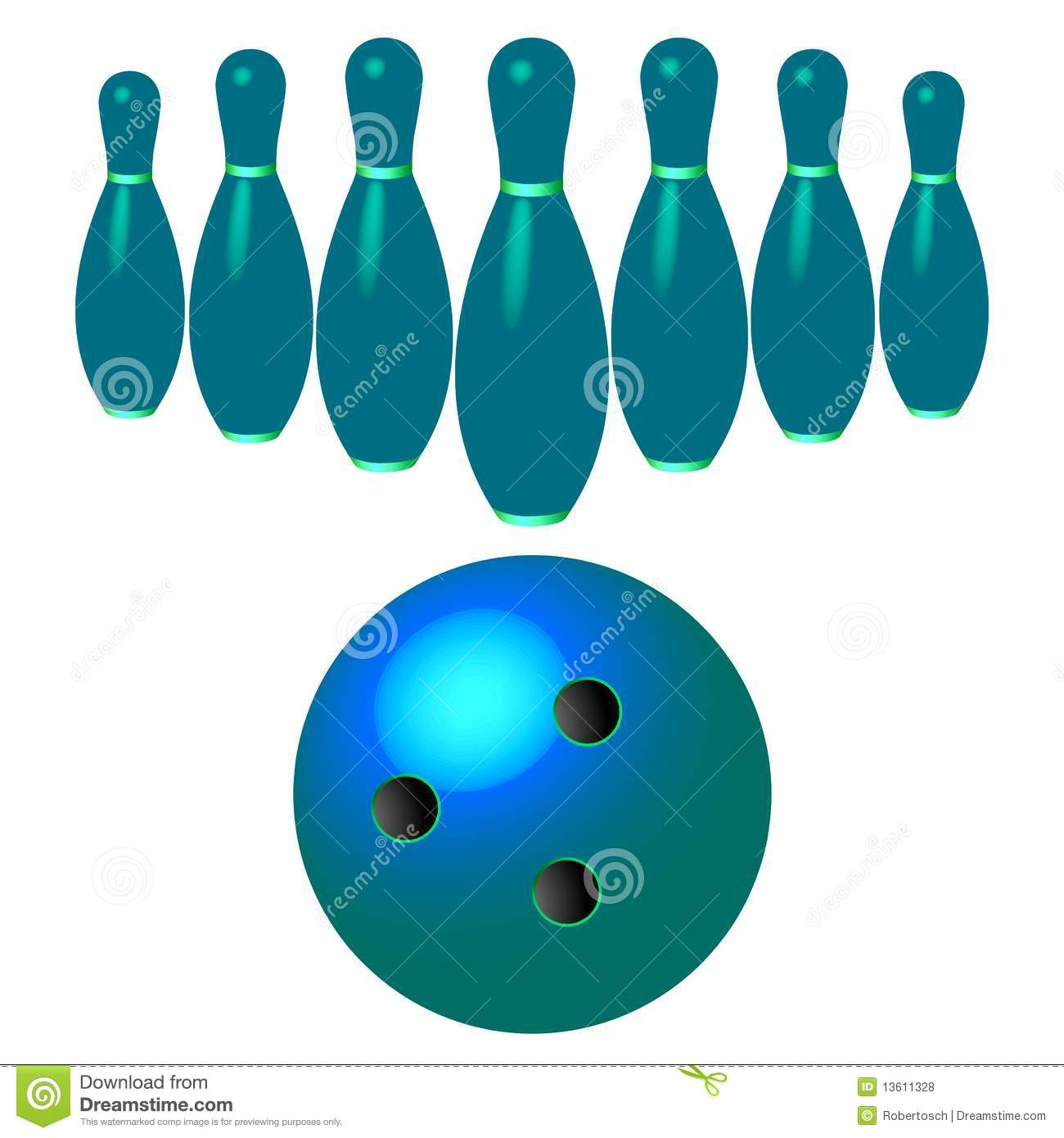 Bowling pins and ball isolated on white background, abstract vector ...