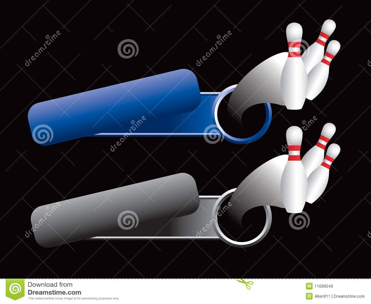 Bowling Pins On Blue And Gray Tilted Banners Stock Vector