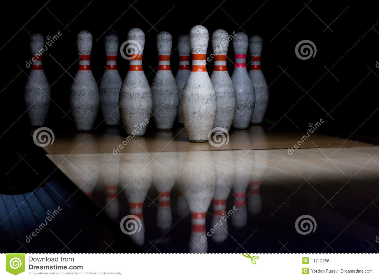 Bowling pins in row