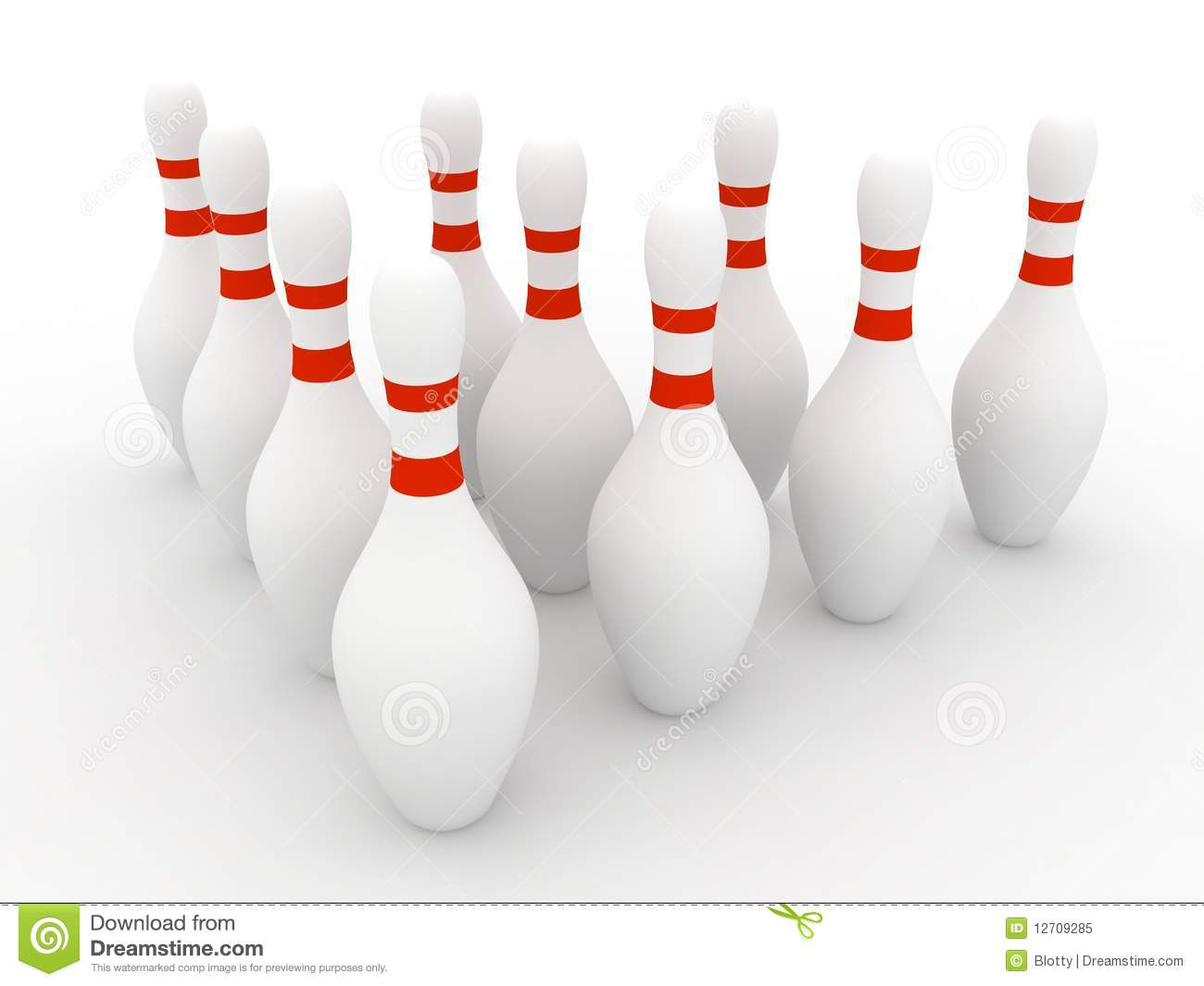 Bowling Pins On White Background Stock Illustration